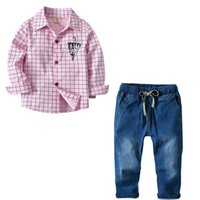 2018 Popular models boys cotton plaid long- sleeved shirt den...