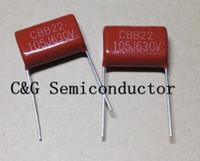 20pcs Condensador de película metálica CBB21 105 630v 1uF 630V J condensadores, condensador de película metalizada