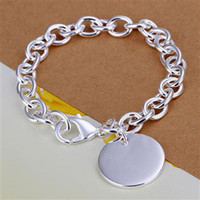 925 Sterling Silver Circle Pendant Chain Bracelet for Women ...