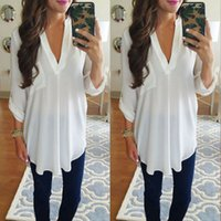 Plus Size Women Chiffon Tops Long Sleeve Shirts Ladies Deep ...