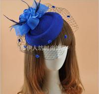 Amandabridal 11 Couleurs Headpieces Chapeau De Fête Chapeau De Mariée Accessoires Plume Voile Pince À Cheveux De Mariage Costume De Fête D'anniversaire Fantaisie Chapeaux Pour Les Femmes