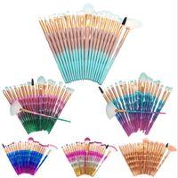 20 unicornios Pinceles de maquillaje Cepillo Sirena Sombra de Ojos Fundación Cepillo de Maquillaje Cepillo de cola de pescado de color degradado Herramienta Comestic