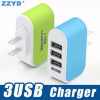 ZZYD 3 ports USB Chargeur avec LED 5V 3.1A Adaptateur Voyage pour Samsung S8 Tablet