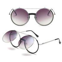Yüksek kalite yuvarlak Güneş Gözlüğü Tasarımcı güneş gözlüğü buhar punk Metal kadın KAPLAMA SUNGLASSES Erkekler Retro daire gözlük 4 renk seçimi