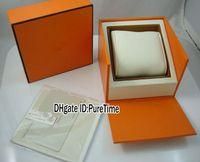 Papel Gift Card Certificado Womens Watch Hight qualidade Laranja Watch Box Atacado Original Mens Box Com Sacos H Box Puretime