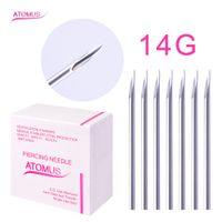 100 st / låda 14g engångs steril kropps piercing nålar för öron näsa navel tatuering tillbehör leveranser
