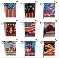 33 diseño 47 * 32 cm Union Garden Flags Party Home Decor Bandera americana Serie Patrón de doble cara Bandera del jardín Home Lawn Decor 30 unids