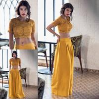 Vestido amarillo de dos piezas de fiesta Vestidos de encaje Top corto con falda larga de satén Vestido de noche elegante de manga corta Vestidos de fiesta para mujeres