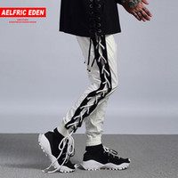 Aelfric Eden Casual Pantalons Hommes Hiphop Pant Bandage Punk Workout Homme Pantalon Côté Cross Lace Up Joggers Piste Pantalon De Survêtement PA102