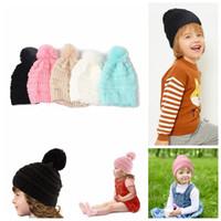 Çocuklar Ponpon Örme Şapka Çocuklar Tıknaz Kafatası Kapaklar Kış Kablosu Örme Slouchy Tığ Şapka Açık Sıcak Beanies CCA