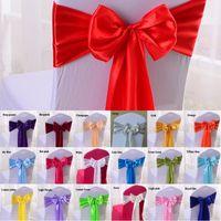 Satén Silla Sash Pajaritas Para Banquete Wedding Party Butterfly Craft Silla Cubierta Decoración Suministros Al Por Mayor 19 Colores