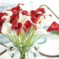 High simulation feel PU calla lily home table decoration flower vase arrangement mini