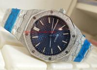 De lujo de alta calidad reloj costa afuera 15410BC.GG.1224BC.01 41 MM Blue Dial cristal de zafiro automático mecánico reloj para hombre relojes