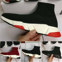 Nuevo Hot Luxury Sock Shoe Paris Speed ​​Trainer Zapatillas de deporte Zapatillas de deporte Sock Race Runners Zapatos negros Hombres Mujeres Zapatos deportivos 36-45