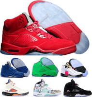 Cheap 5 5s Basketball Shoes Sneakers Mens Women Man Red Sued...