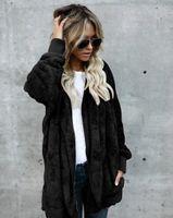 Abrigo de invierno de piel sintética con capucha más el tamaño de las mujeres cálido punto abierto abrigos y chaquetas reversibles de manga larga mujer Casaco Feminino FS5908