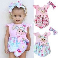 Summer baby girl onesies wiith headband rabbit romper jumpsu...