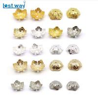 90 till 100st Silver Guldpläterad Zink Alloy Flower Bead Caps End Beads Caps Charms för smycken Making (Yiwu) 15mm, hål är 1,5 mm