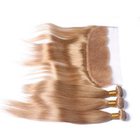 꿀 금발 3 번들 전체 정면 스트레이트 # 27 브라질 딸기 금발 인간의 머리카락이 13x4 레이스 정면 폐쇄와 직조