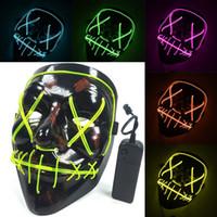 Светодиодные маски Хэллоуина EL Wire Glowing Mask Черная маска-призрак ужасов Маскарад на день рождения Карнавал Косплей полнолицевые маски 10 цветов WX9-953