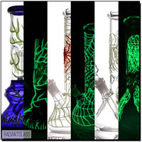 Luminous beaker bong glass 2 types bongs with downstem oil r...