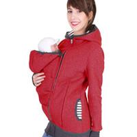 الخريف الأبوة والأمومة المرأة الطفل بلوزات الصلبة حاملة الطفل ارتداء هوديس الأمومة الأم الكنغر هوديس الملابس