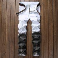 Mens Jeans Straight Ripped Jeans For Men 2018 Zipper  Denim Men Fashion Designer Pants Black White Jean Male Size 30-40