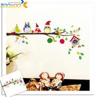 어린이 방에 대 한 올빼미 나무 벽 스티커 ZooYoo1013 어린이 스티커 이동식 pvc 벽 decals 홈 장식 크리스마스 스티커