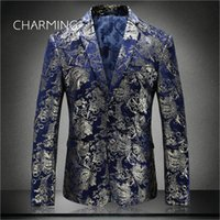 Blue suits for men High- quality jacquard fabric stamping pat...