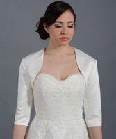 3/4 Kollu Saten Düğün Ceket Gelin Ceket Beyaz / Gri Ceket Gelin Ceket Sarar Bolero Kadınlar Bolero Mariage Yeni 2018 Custom Made