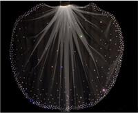 Sparkly Glitter Gorąca Sprzedaż Musujące Wysokiej Jakości 1 Layer Crystals Welony ślubne z bezpłatnym Grzebieniem Białe / Kości Słoniowej Akcesoria Bridal