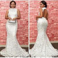 Elegance Beyaz Dantel Gelinlik Modelleri Moda Yüksek Boyun Hollow Backless Mermaid Akşam Elbise Glamorous Güney Afrika Parti Elbiseler Resmi Giymek