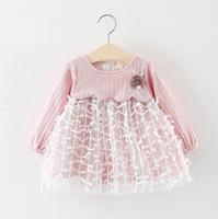 Abito manica lunga bambino Abbigliamento neonato Vestito a rete bambina Stile primaverile 1 anno Abito da neonato Costume da neonato