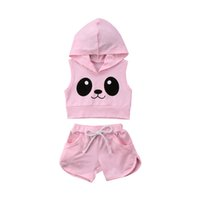 Kids Baby Girl Panda Hooded Top Shorts Sport Suit Tracksuit ...