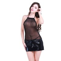 Gonna donna in pelle nera Gonna sexy Gonna in vernice con cerniera intimo Donna Nero Babydoll Sleepwear Dress Zipper Mini Skirt