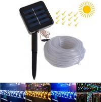 7M 12M 50 / 100leds Солнечные светодиодные фонари на открытом воздухе Веревка с трубкой Светодиодные шнуры на солнечных батареях Гирлянды для сада Забор Пейзаж
