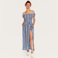 여성 섹시한 Strapless 칼라 줄무늬 맥시 드레스 보우 타이 사무실 여성 JH75에 대한 여름 레이디 스타일 여름 가을 블루 파티 드레스