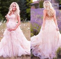 Delicadas flores rosadas de maternidad vestido de novia 2018 Sweetheart Sweep Train 3D Floral apliques país vestidos de novia más tamaño vestido de novia
