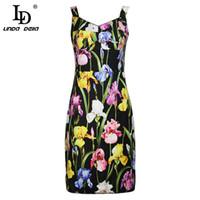 LD LINDA DELLA 2018 Мода взлетно-посадочной полосы летнее платье женщин без рукавов V-образным вырезом черный урожай цветочный принт элегантный оболочка мини-платье