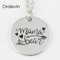 whole saleWholesale MAMA BEAR Engraved Disc Pendant Charms N...