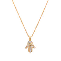 Gold Plated Hamsa Necklace Fatima' s Hand Lucky Hand Pen...