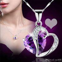 Gümüş Plaka Kalp Gerdanlık Kolye Kadın Kolye Kristal Kolye Takı Kristal Taş Ametist Kalp Kolye Hediye