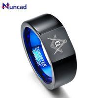 Nuncad Retro Big Head style anneaux en carbure de tungstène vide noir avec placage anneaux laser bleu maçonnique tungstène anneau T076R Se connecter