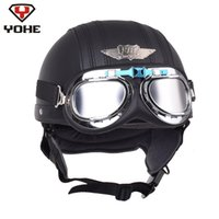 YOHE Retro Motorcycle Helmet Cruiser Leather Pilot Aviator Scooter Vintage Half Helmets Casque Moto Casco Capacete with Goggles
