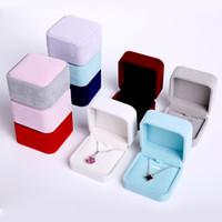 Новый коробка ювелирных изделий премиум бархат ожерелье коробка красный белый кулон дисплей организатор хранения коробка чехол подарок 7 * 7*4 см