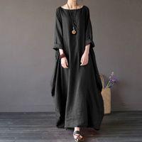 النساء اللباس 5xl الأصلي خمر فضفاض القطن الكتان اللباس للإناث الصيف ثوب طويل رداء فساتين زائد الحجم فساتين حجم كبير