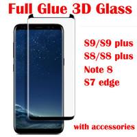 Cola completa case friendly vidro temperado para samsung galaxy s9 s9 além de s8 s8 plus nota 8 s7 edge 3d protetor de tela do telefone em saco de opp