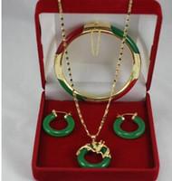 """무료 배송 우아한 7.5 """"녹색과 빨간색 Jades 팔찌, 녹색 옥의 earings과 18kgp 용 펜던트 패션 주얼리 레이디 세트"""