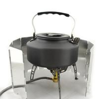 9 Placas Plegable Estufa Parabrisas Acampar al aire libre Cocina BBQ Estufa de gas Aleación de aluminio Pantallas de protección contra el viento
