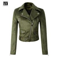 Ly Varey Lin Женская кожаная куртка из замши Тонкая короткая молния из искусственной кожи Панк-кожа Желто-зеленая куртка и пиджаки